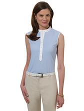 Petite Non-Iron Sleeveless Stripe Dress Shirt with DOW XLA&#0153�
