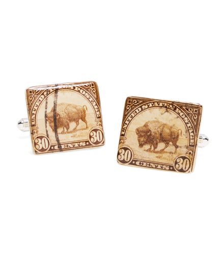 Vintage Bison Stamp Cuff Links