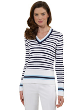 Country Club Cotton Tennis Stripe Long-Sleeve V-Neck