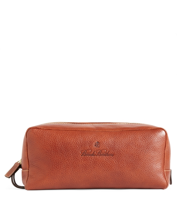 Leather Travel Toiletry Case Brown