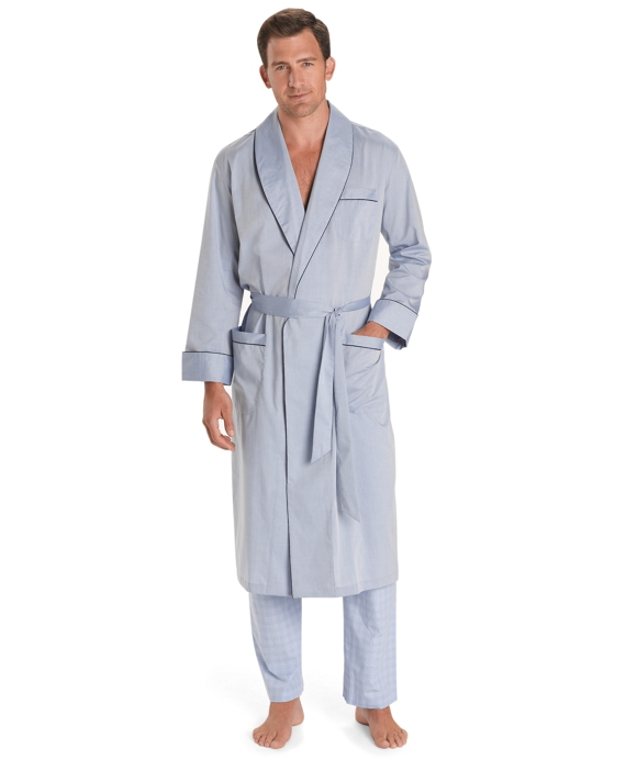 Wrinkle-Resistant Chambray Robe Blue