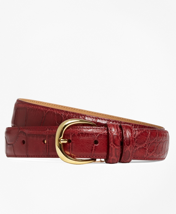 Gold Buckle Alligator Belt Matte Red