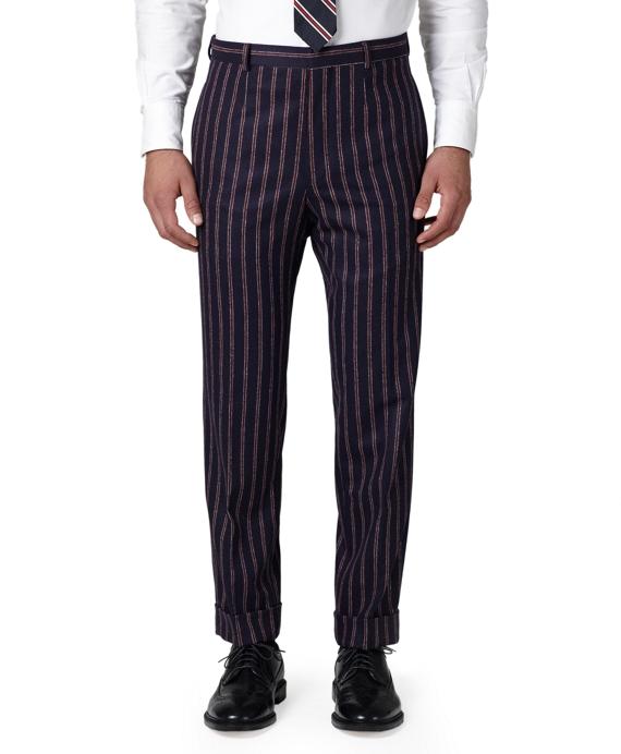 Lambswool Stripe Belt Loop Trousers Navy