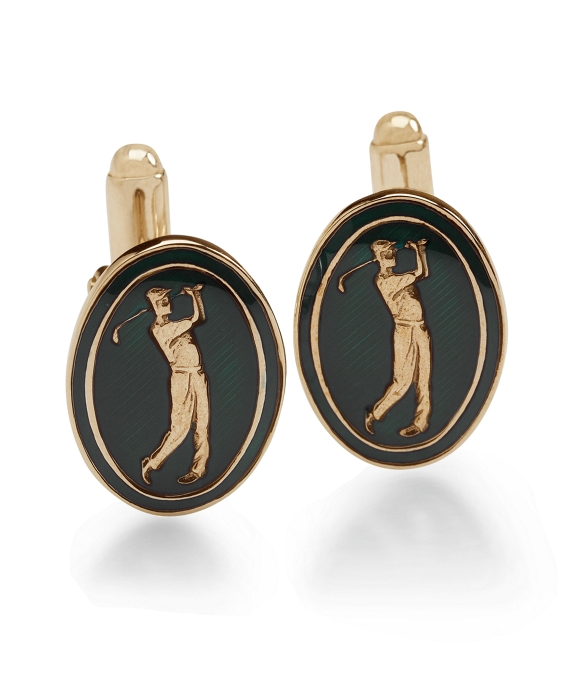 Country Club Vintage Golfer Cuff Links Gold