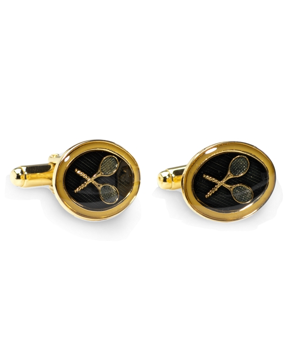 Country Club Vintage Tennis Cuff Links Gold