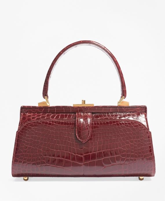Glazed Alligator Frame Bag Red