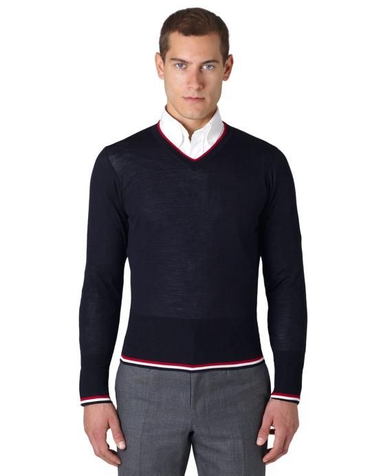 Tipped V-Neck Sweater Navy