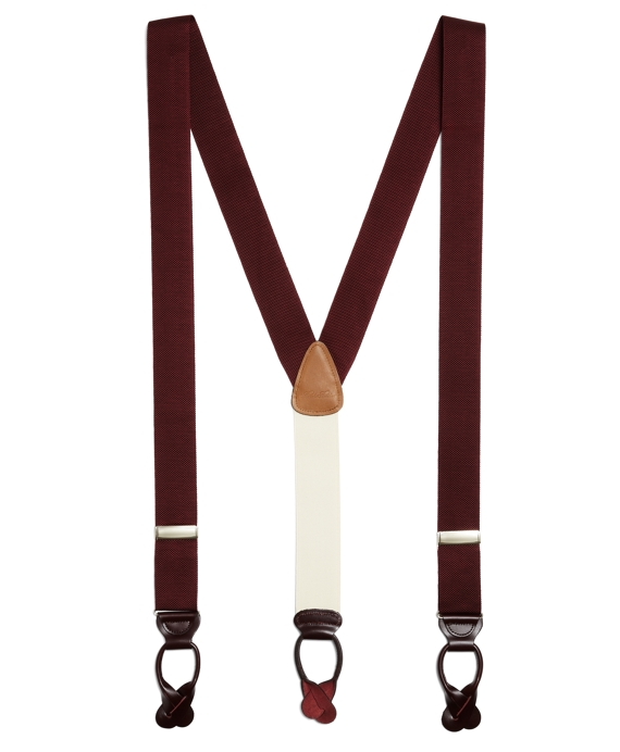 Extra-Long Solid Suspenders Burgundy