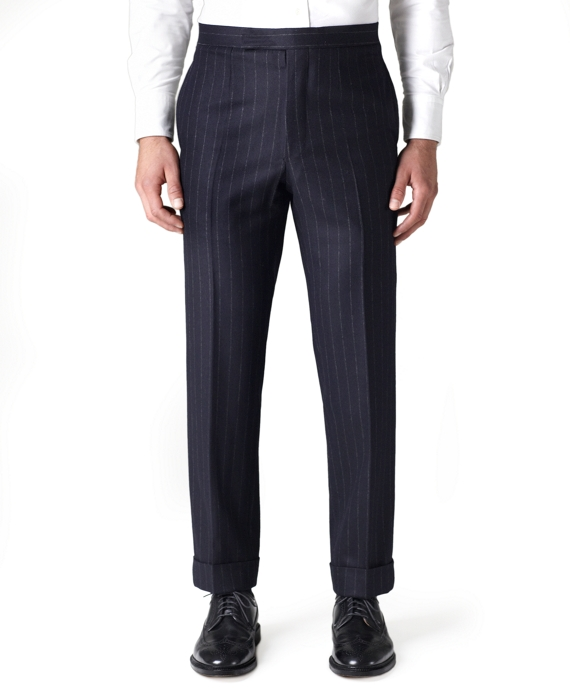 Wool Flannel Chalk Stripe Tab Trousers Navy