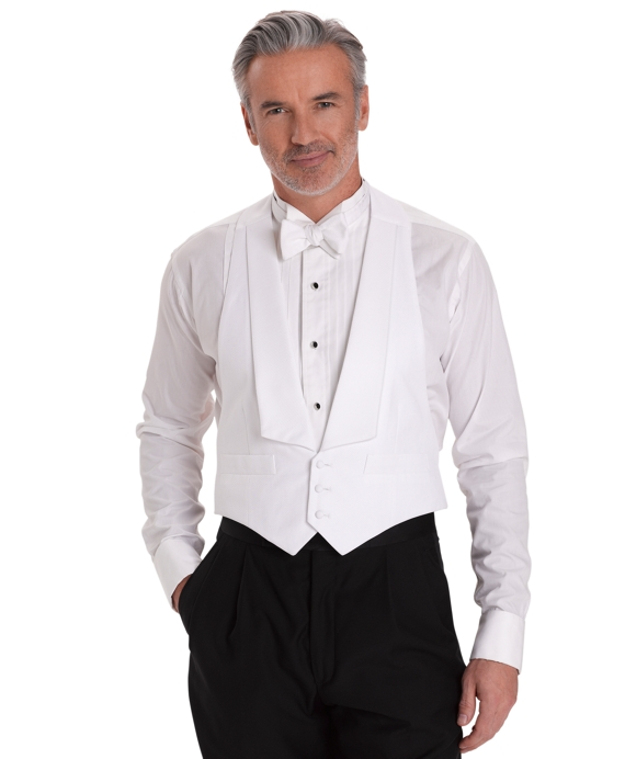 White Cotton Pique Tuxedo Vest