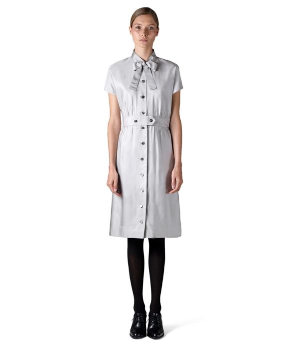 Short-Sleeve Belted Dress Grey