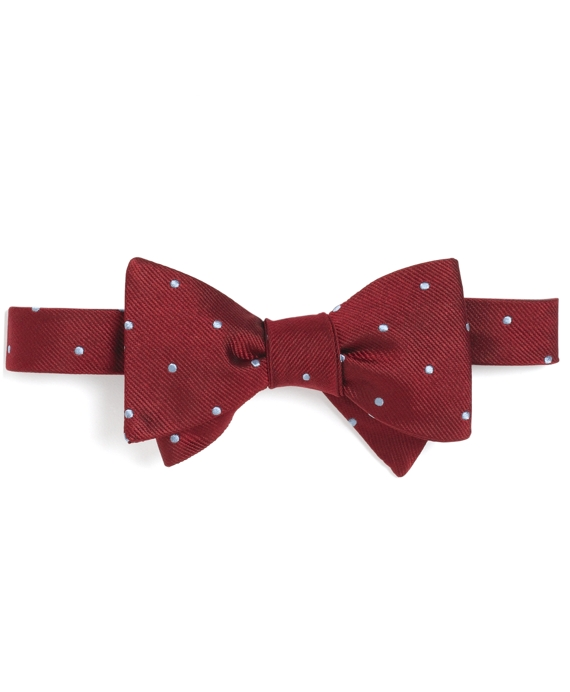 Dot Bow Tie Burgundy-Light Blue