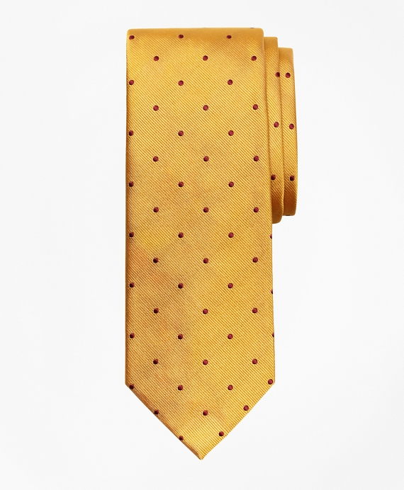 Dot Repp Tie Gold-Burgundy