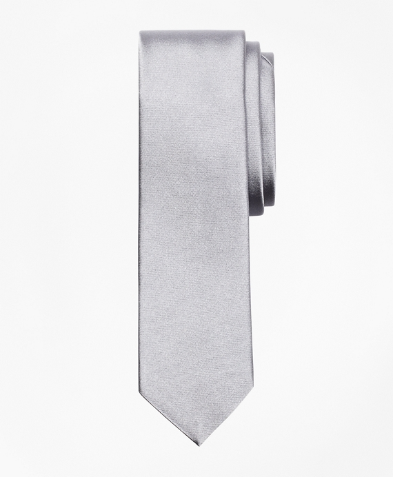 Formal Satin Slim Tie Grey