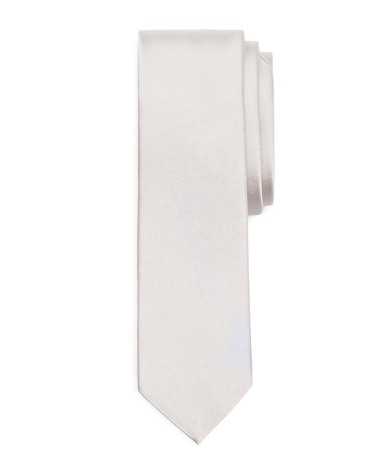 Formal Satin Slim Tie White