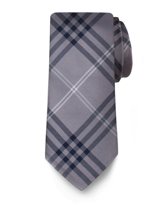Black Fleece Plaid Silk Tie Grey