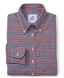 Black Fleece Long-Sleeve Button-Down Mini Check Shirt