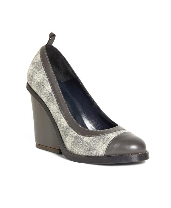 Stacked Heel Pumps Grey