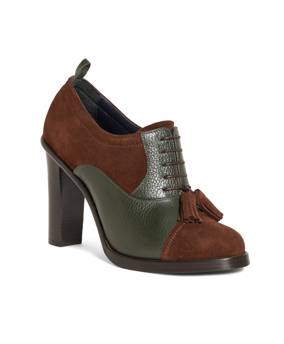 Suede Captoe Shoes Brown-Green