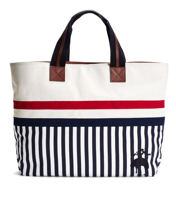 EAST-WEST TOTE WITH STRIPED BOTTOM Ecru-Navy-White