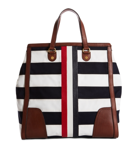 STRIPE MACKINTOSH TOTE Navy-White
