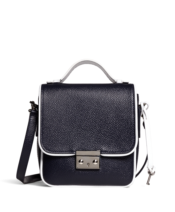 Leather Mini Lock Bag Navy