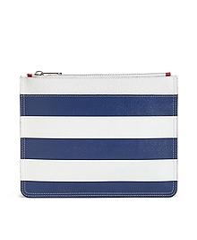 Leather Stripe Clutch