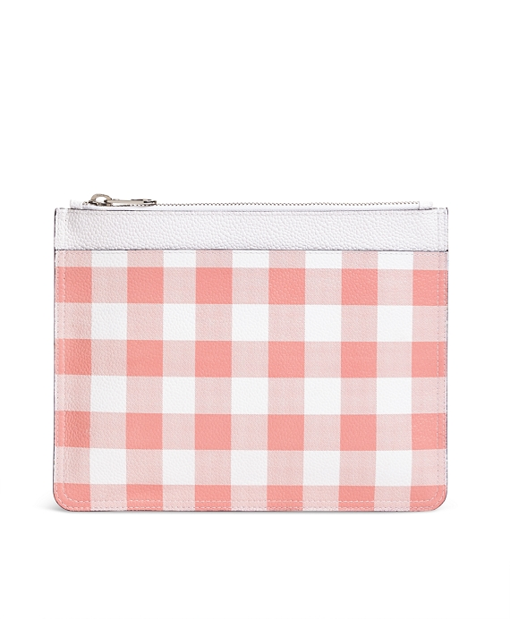 Leather Gingham Clutch Pink
