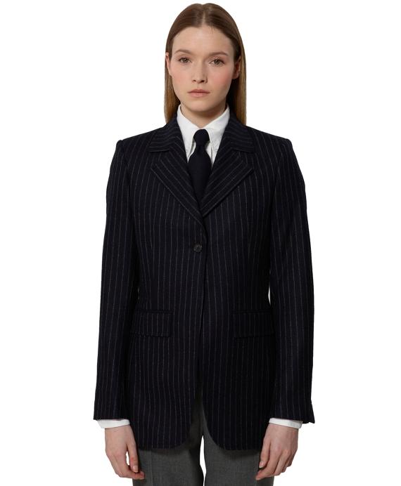 Stripe One-Button Jacket Navy