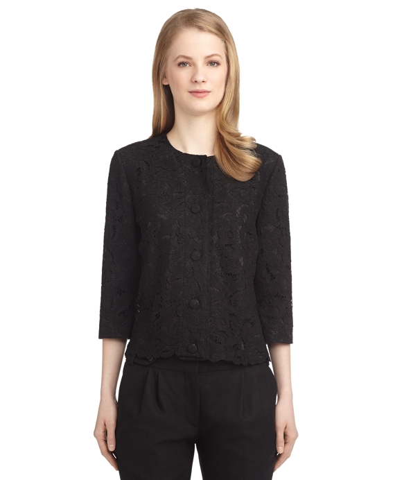 LACE THREE-QUARTER SLEEVE JACKET Black