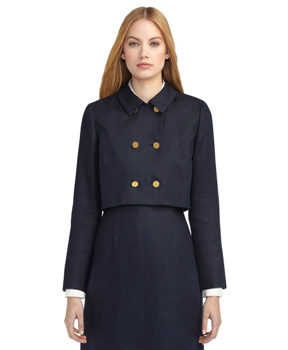 DOUBLE-BREASTED CROP JACKET Navy