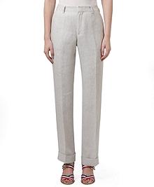 Linen Mini Stripe Belt Loop Trousers