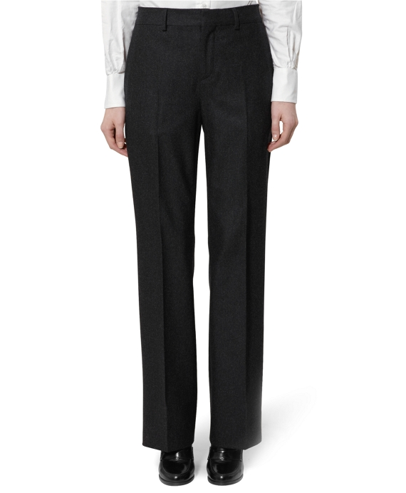 Flannel Wide Leg Trousers Charcoal
