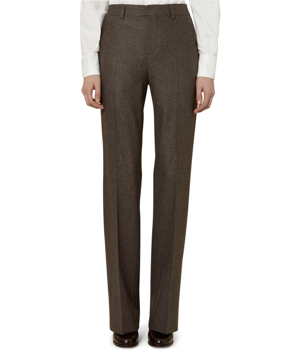 Flannel Wide Leg Trousers Brown