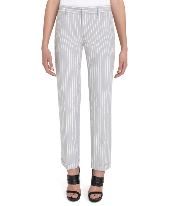 Seersucker Skinny Leg Trouser Grey-White