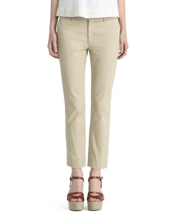 Cropped Skinny Trousers Khaki