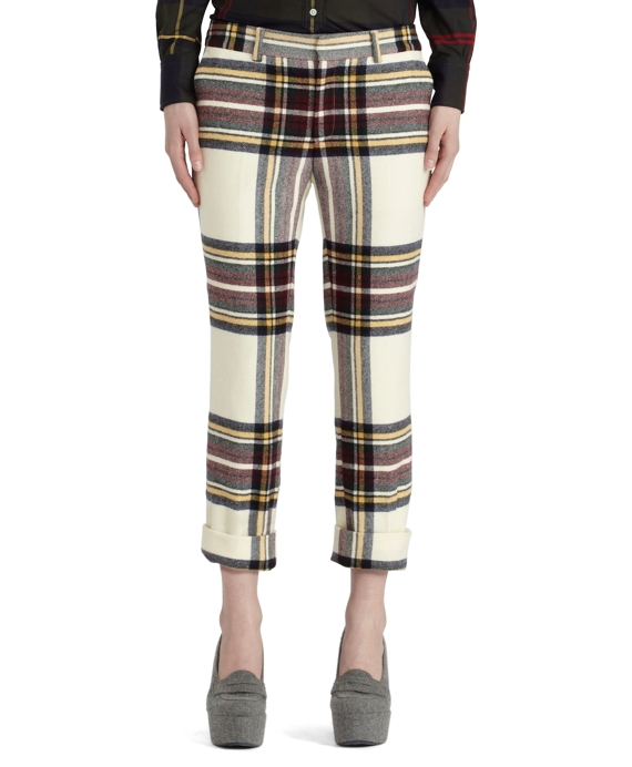 Wool Tartan Cropped Trouser White-Navy-Wine