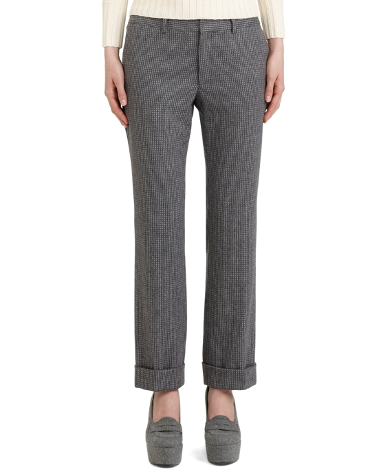 Wool Narrow Leg Trouser Grey-White