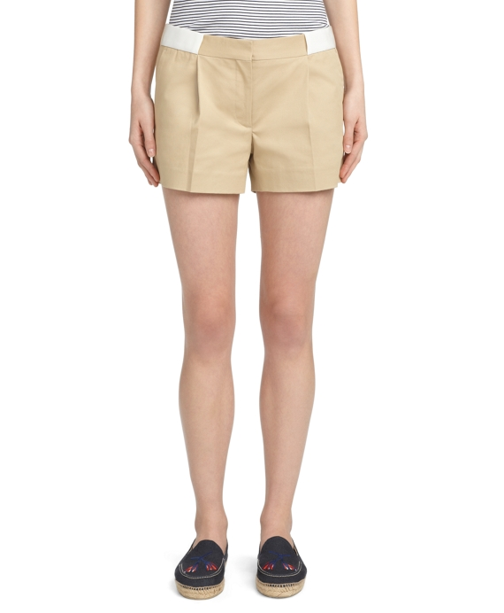 COTTON KHAKI SHORTS Khaki