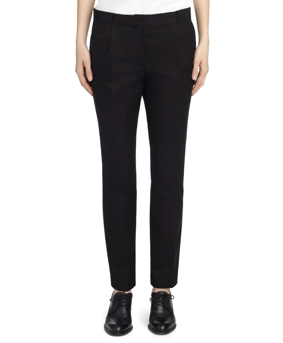BLACK COTTON PIQUE PANT Black