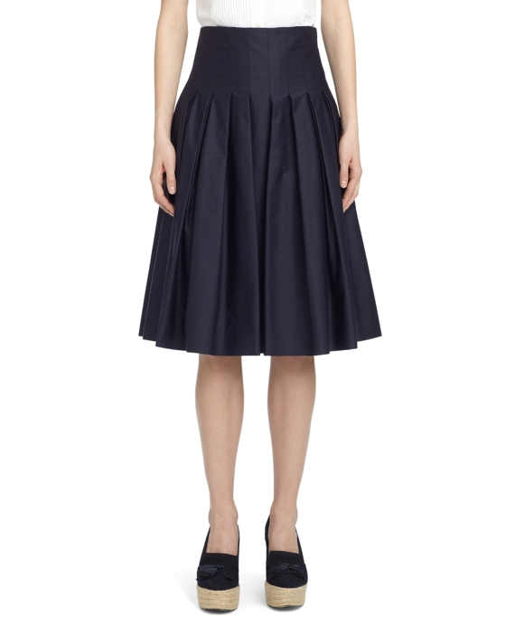 POPLIN FULL-PLEAT SKIRT Navy