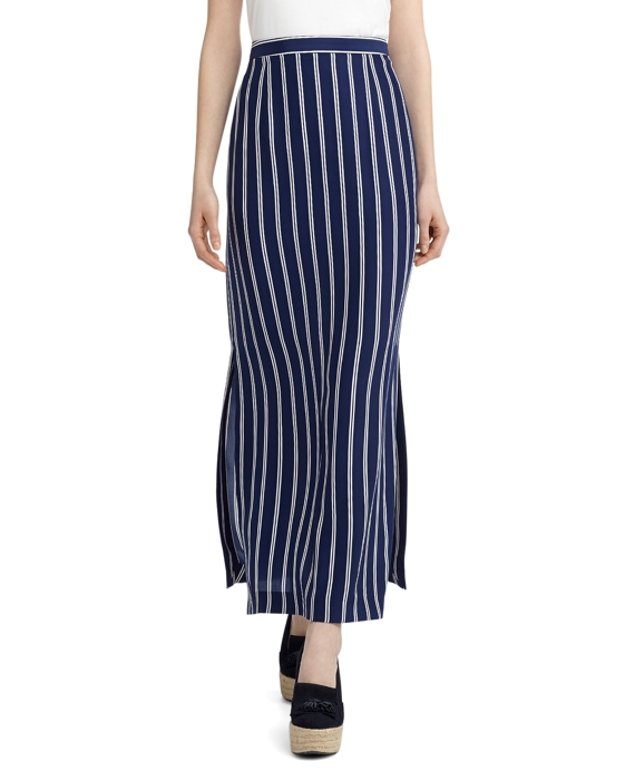SILK DOUBLE STRIPE LONG SKIRT Navy-White