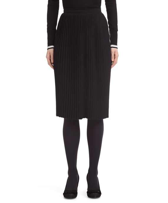 CASHMERE AND SILK PLEATED SKIRT Black