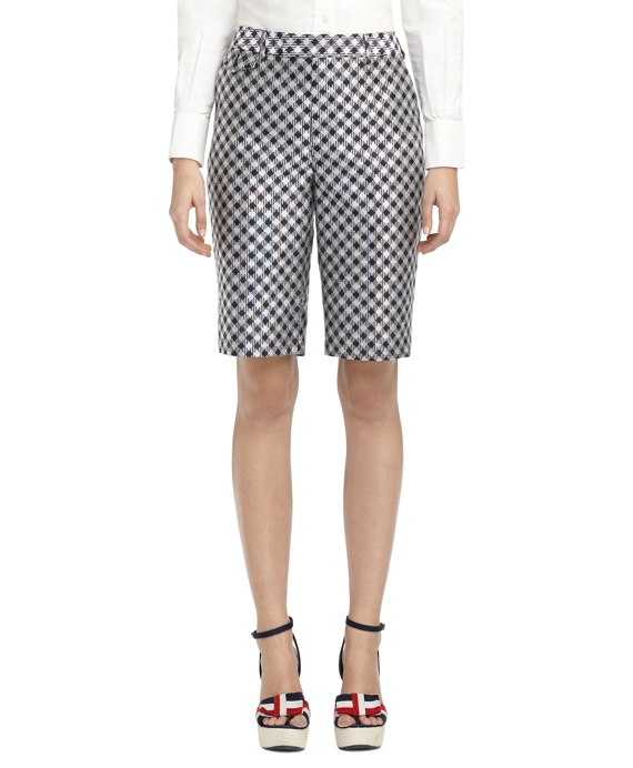 GINGHAM JACQUARD BERMUDA SHORTS Navy-White