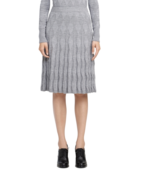Argyle Pleated Knit Skirt Dark Grey