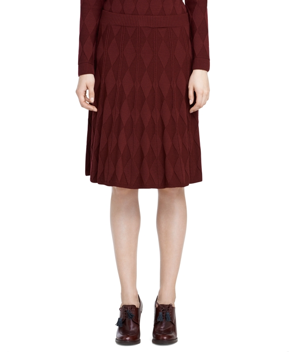 Argyle Pleated Knit Skirt Burgundy
