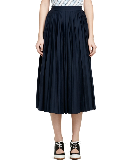 Cotton and Silk Pleated Long Skirt Navy