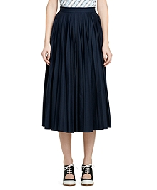Cotton and Silk Pleated Long Skirt