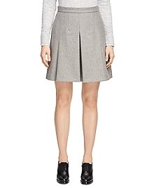 Wool Blend Pleated Skirt