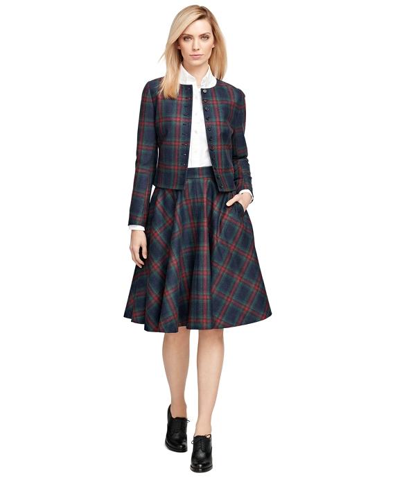 Women's Wool Plaid Knee Length Circle Skirt | Brooks Brothers